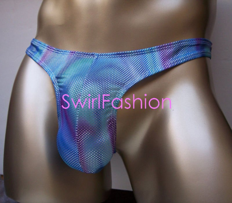 K326C HOT MEN SKIMPY POUCH THONG Metallic Silver Dots Blue/purple