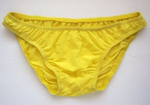 K1571B Hot Mens Sexy Bikinis Soft Smooth Silky Tricot Knit L yellow