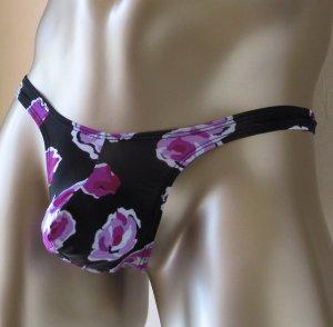 R700 Hot Sexy Men Thong Bulge Contoured Pouch Push-up Floral Black