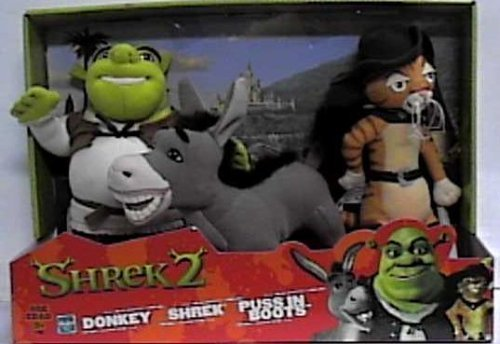 Shrek 2 Set of 3 Plush - Donkey, Shrek & Puss in Boots