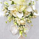 16 pc Cascade Bridal Package Calla Lilies and Roses in Off-White and Ivory