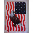 Bald Eagle American Flag Queen Mink Style Blanket Wild Bird Animal Cover