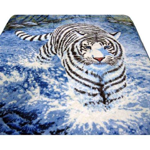 Big Cat White Tiger Black Blue Colors Queen Mink Style Blanket