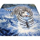Big Cat White Tiger Black Blue Colors Queen Mink Style Blanket