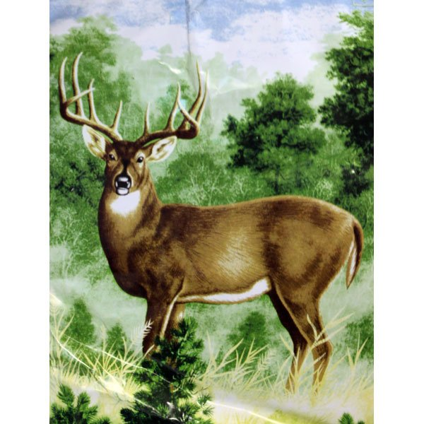 Deer Wild Animal Green Brown Blue Colorful Queen Mink Style Blanket