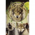 Three wolf heads with an American Indian dream catcher queen size mink style blanket