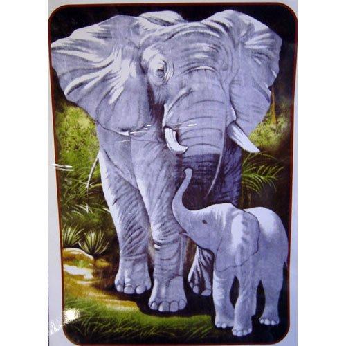Mother Baby Elephant Wild Animal Queen Mink Style Blanket