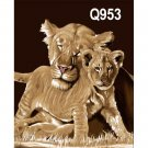 Mother Loin Baby Cub Big Cat Theme Queen Mink Style Blanket
