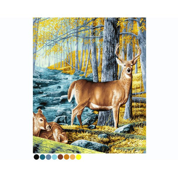 Multi Colored Woods Standing Deer Baby Fawn Queen Mink Style Blanket