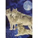 Three Wolfs Moon Night Sky Grey Dark Blue Color Queen Mink Style Blanket