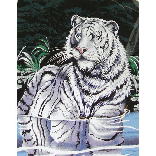 White Big Cat Tiger Water Blue Green Color Queen Mink Style Blanket