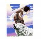 White Wolf American Bald Eagle Purple Sky Queen Mink Style Blanket