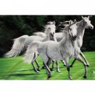 Wild White Horses Animal White Black Green Color Queen Mink Style Blanket