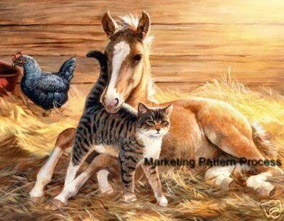 Foal and Cat Cross Stitch Pattern Horses ETP