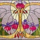 Art Deco Fuschia Cross Stitch Pattern Stained Glass TBB ETP