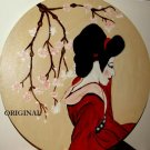 Geisha Girl w Cherry Blossoms Cross Stitch Pattern Oriental ETP