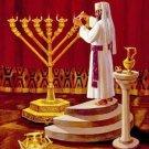 Priest w Temple Menorah Cross Stitch Pattern Jewish ETP
