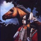 Indian with Horse Cross Stitch Pattern Native American ETP