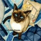 Siamese Cat in Blue Cross Stitch Pattern ETP