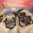 Pugs at The Beach Cross Stitch Pattern Dogs ETP