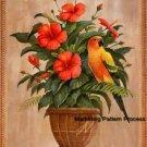 Sun Conure Parrot Hibiscus Cross Stitch Pattern Birds ETP