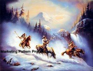 Indian Mountain Trek Cross Stitch Pattern Native American ETP