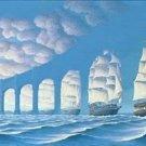 Ships or Bridge Cross Stitch Pattern Optical Illusion ETP
