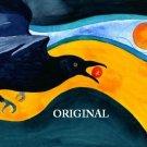 Raven Sun Cross Stitch Pattern Birds Painting ETP