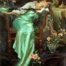 Green Elegance Victorian Woman Cross Stitch Pattern ETP