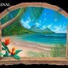 Tropical Bamboo Window Ocean Vista Cross Stitch Pattern