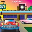 50's Drive-In Diner Cross Stitch Pattern Cars ETP