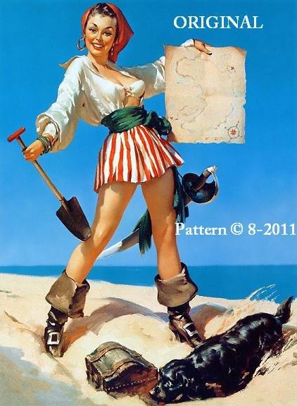 Pin Up Girl #1 Cross Stitch Pattern Pirate ~ETP~