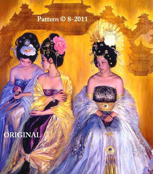 Oriental Royalty Cross Stitch Pattern ~ETP~