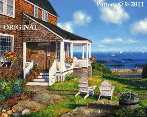 House by the Ocean Cross Stitch Pattern Sea Shore ~ETP~