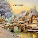 Winter Cottage Scene With Bridge Cross Stitch Pattern Kinkade ETP