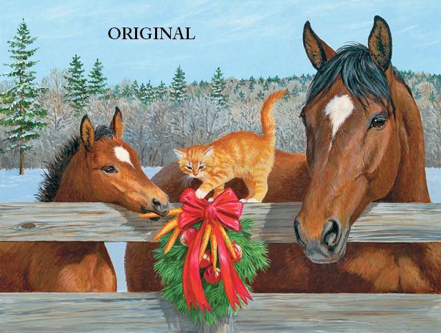 A Horsey Christmas Cross Stitch Pattern Horses Cats ETP