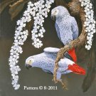 African Greys & Blossoms Cross Stitch Pattern Parrots ETP