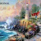 Vintage Lighthouse Cliff Cross Stitch Pattern Seascape Kinkade ETP