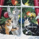 Cats Chasing Snowflakes Cross Stitch Pattern Santa ETP