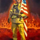 Firefighter W Flag Cross Stitch Pattern Hero ETP
