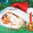 Christmas Cat Hat Nap Cross Stitch Pattern ETP