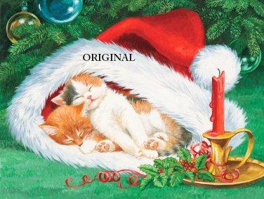 Christmas Cat Hat Nap Cross Stitch Pattern ETP