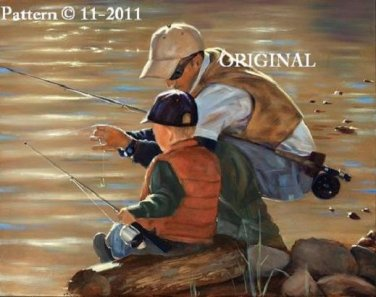 Fishing Together Counted Cross Stitch Pattern ETP