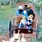 Feeding the Ducks Cross Stitch Pattern Amish ETP
