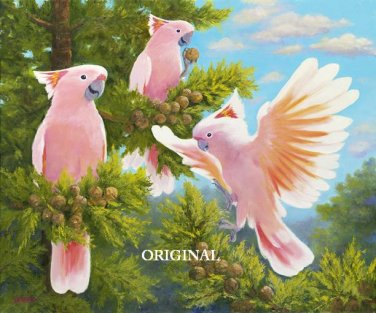 Leadbeater's  ~ Major Mitchell's Cockatoos Cross Stitch Pattern Parrots ETP