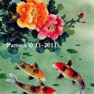 Oriental Koi 3 Counted Cross Stitch Pattern Fish  ETP