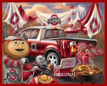 Ohio State Buckeyes Tailgate Counted Cross Stitch Pattern Football  ETP