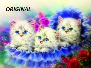 Kittens in Blue... ~Counted~ Cross Stitch Pattern ~Computer Generated~ ETP