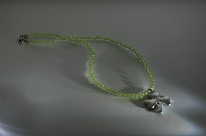 Green Beaded Shamrock Necklace