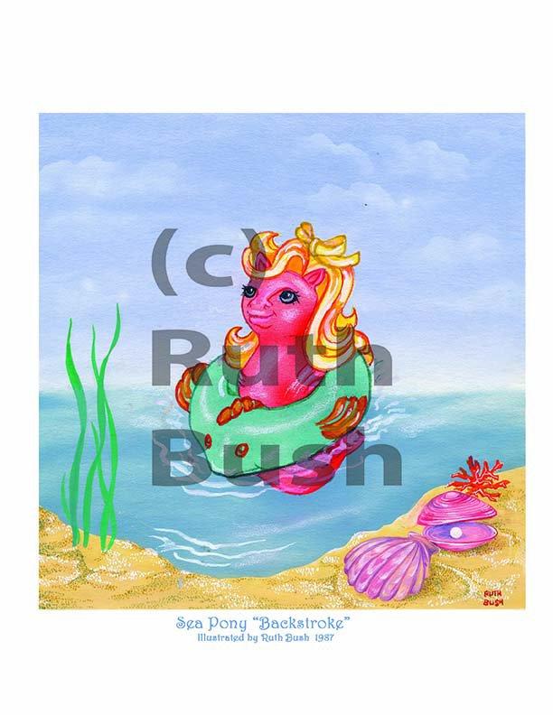 Backstroke  1987 Baby Sea Pony - Illustration by Ruth Bush